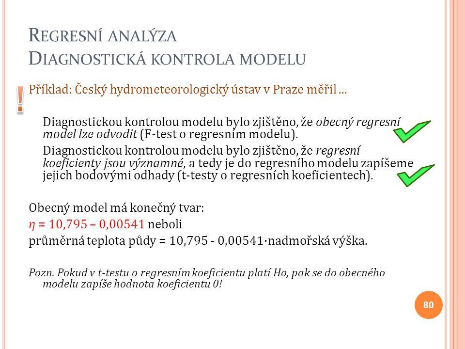 R EGRESNÍ ANALÝZA D IAGNOSTICKÁ KONTROLA MODELU Příklad: Český hydrometeorologický ústav v Praze měřil... Diagnostickou kontrolou modelu bylo zjištěno