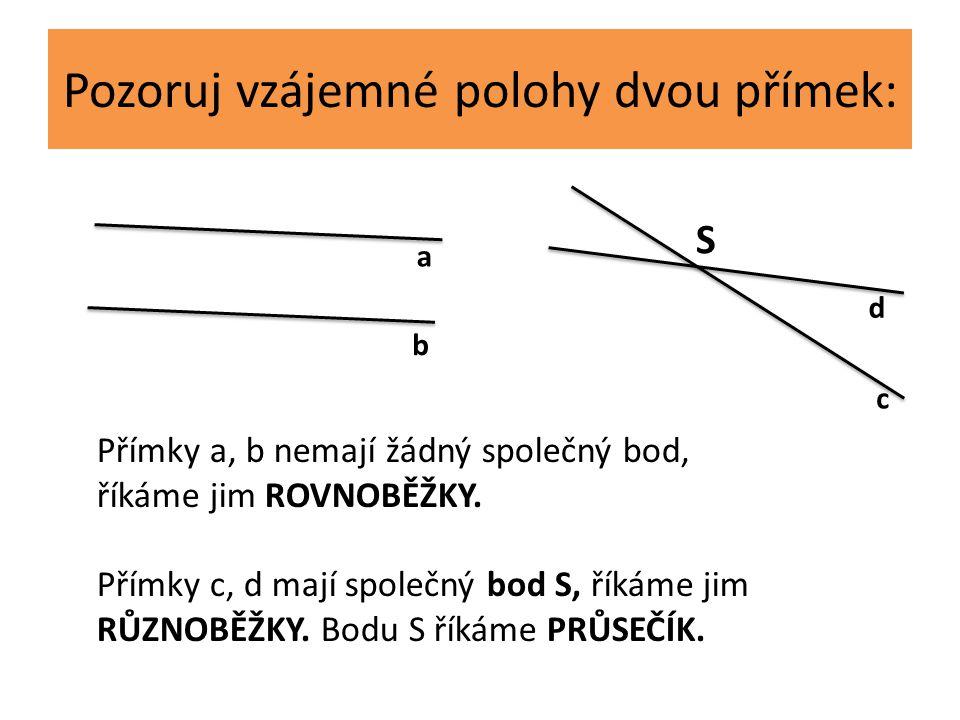 Pozoruj vzájemné polohy dvou přímek: a b d c Přímky a, b nemají žádný společný bod, říkáme jim ROVNOBĚŽKY. Přímky c, d mají společný bod S, říkáme jim