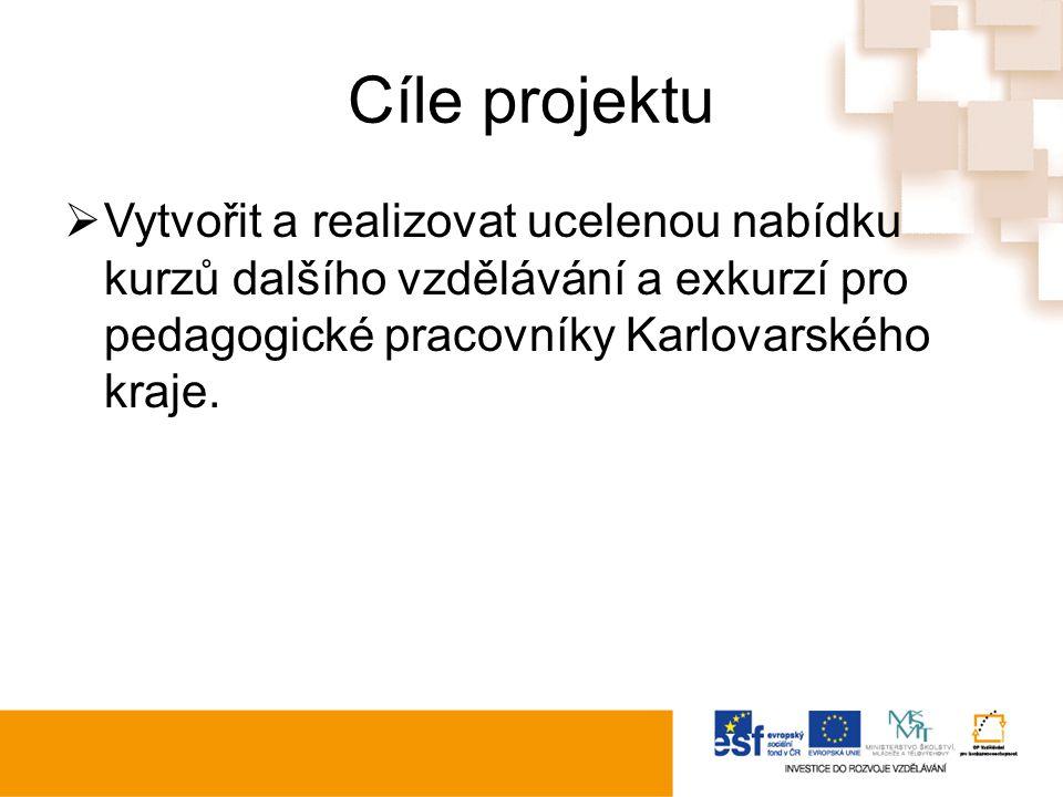 Cíle projektu  Vytvořit a realizovat ucelenou nabídku kurzů dalšího vzdělávání a exkurzí pro pedagogické pracovníky Karlovarského kraje.