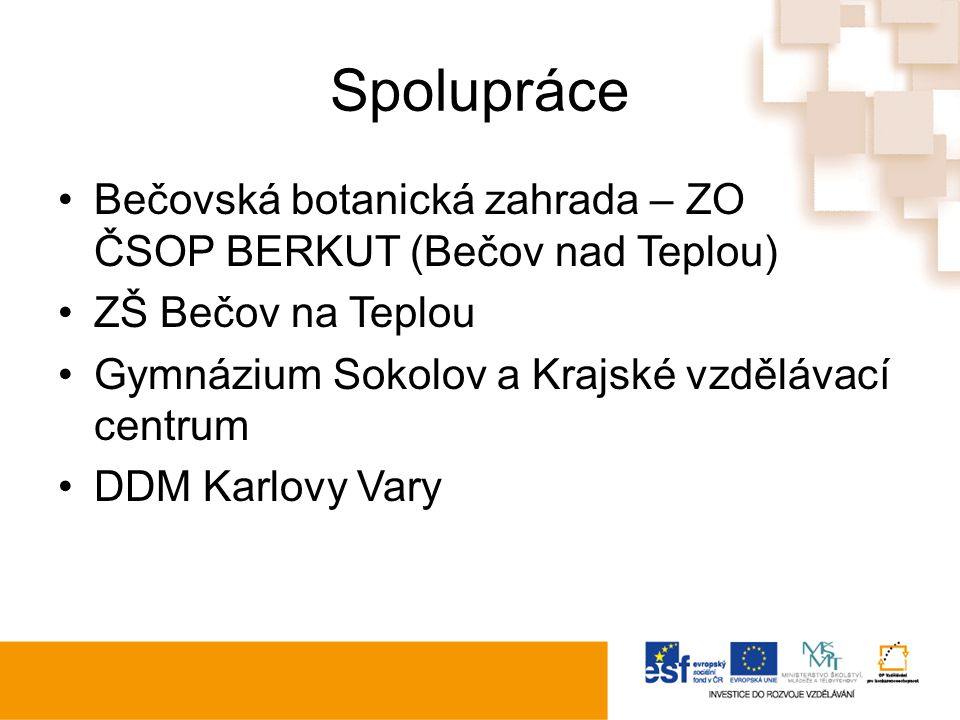 Spolupráce Bečovská botanická zahrada – ZO ČSOP BERKUT (Bečov nad Teplou) ZŠ Bečov na Teplou Gymnázium Sokolov a Krajské vzdělávací centrum DDM Karlovy Vary
