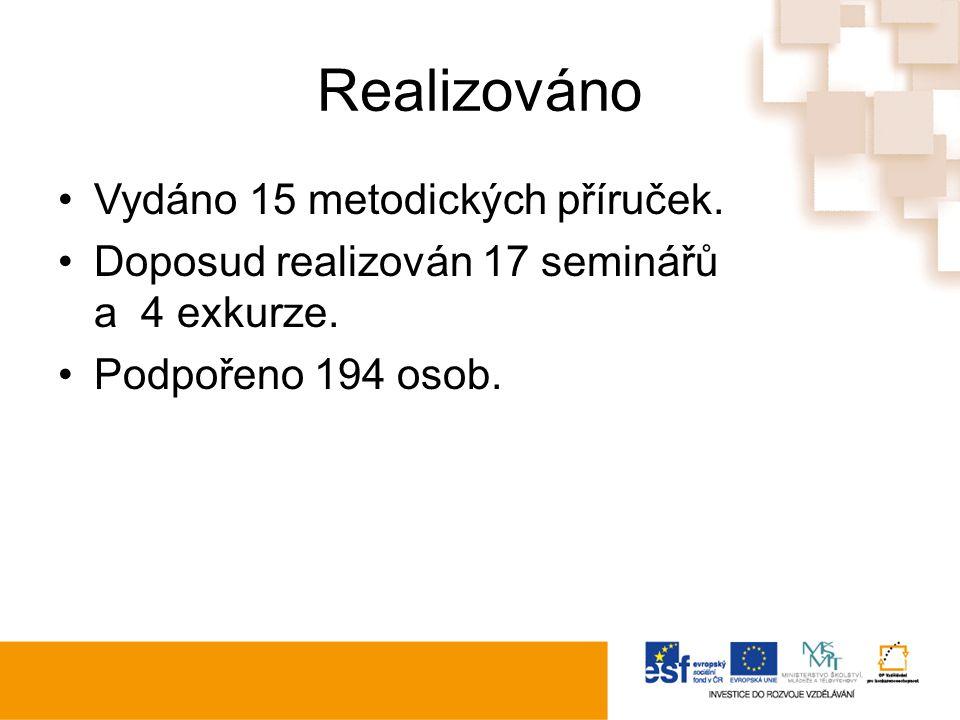 Realizováno Vydáno 15 metodických příruček. Doposud realizován 17 seminářů a 4 exkurze.