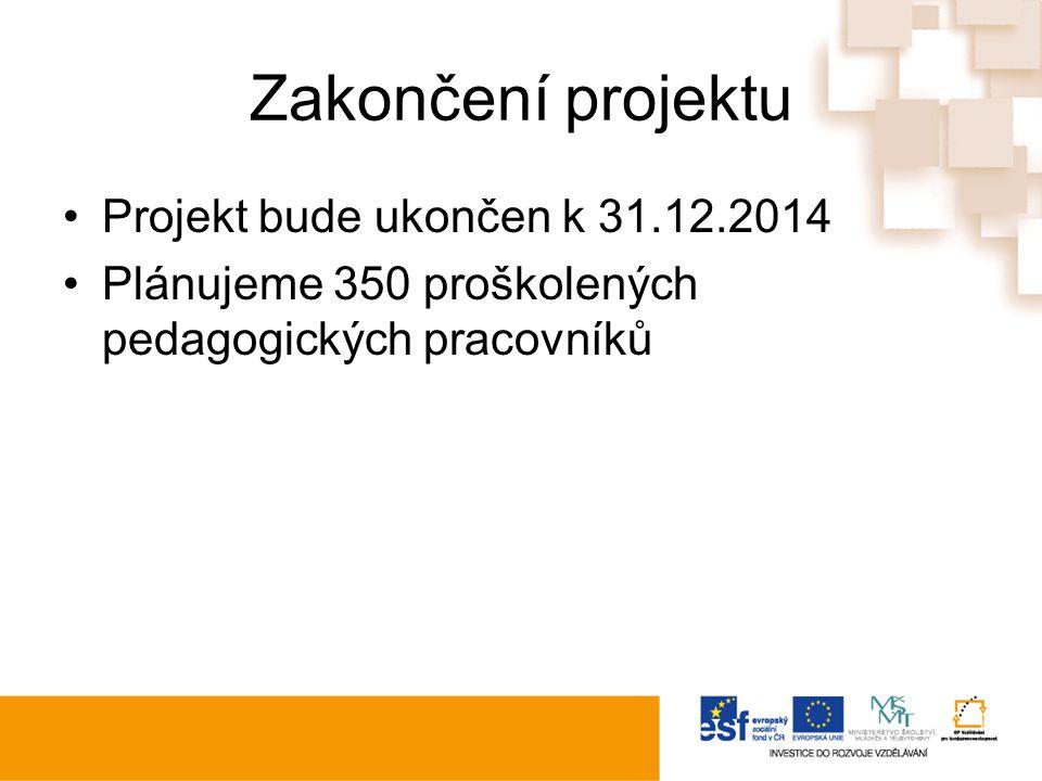 Zakončení projektu Projekt bude ukončen k 31.12.2014 Plánujeme 350 proškolených pedagogických pracovníků