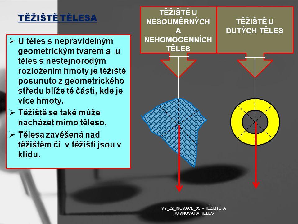 TĚŽIŠTĚ TĚLESA  U těles s nepravidelným geometrickým tvarem a u těles s nestejnorodým rozložením hmoty je těžiště posunuto z geometrického středu blí