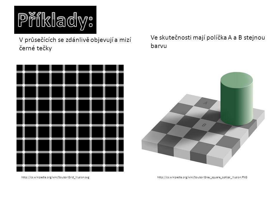 http://cs.wikipedia.org/wiki/Soubor:Grid_illusion.svg V průsečících se zdánlivě objevují a mizí černé tečky http://cs.wikipedia.org/wiki/Soubor:Grey_s