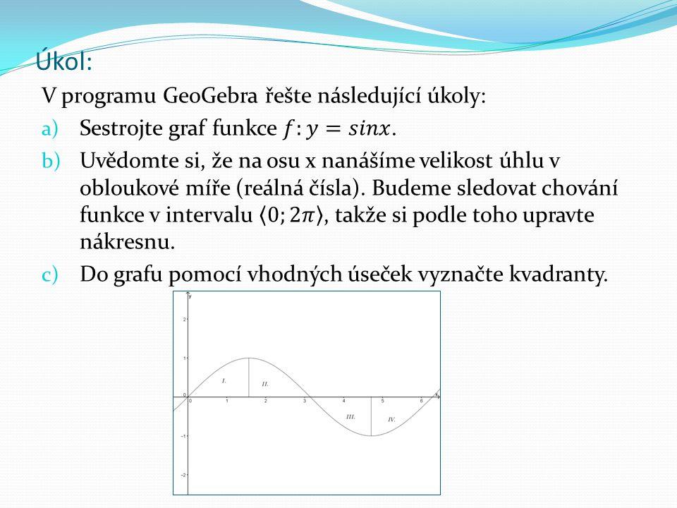 Úkol – 2.část: d) Zpracujte do tabulky vlastnosti funkce v kvadrantech.