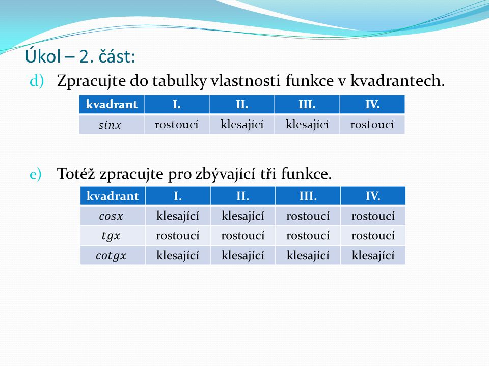Úkol – 2. část: d) Zpracujte do tabulky vlastnosti funkce v kvadrantech. e) Totéž zpracujte pro zbývající tři funkce. kvadrantI.II.III.IV. rostoucíkle