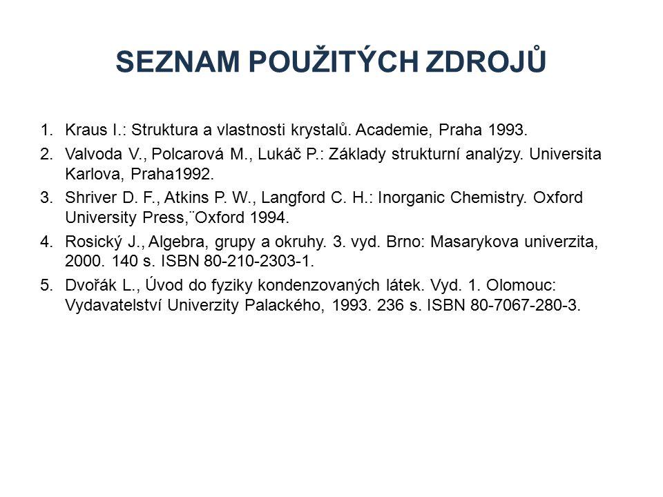 1.Kraus I.: Struktura a vlastnosti krystalů. Academie, Praha 1993. 2.Valvoda V., Polcarová M., Lukáč P.: Základy strukturní analýzy. Universita Karlov