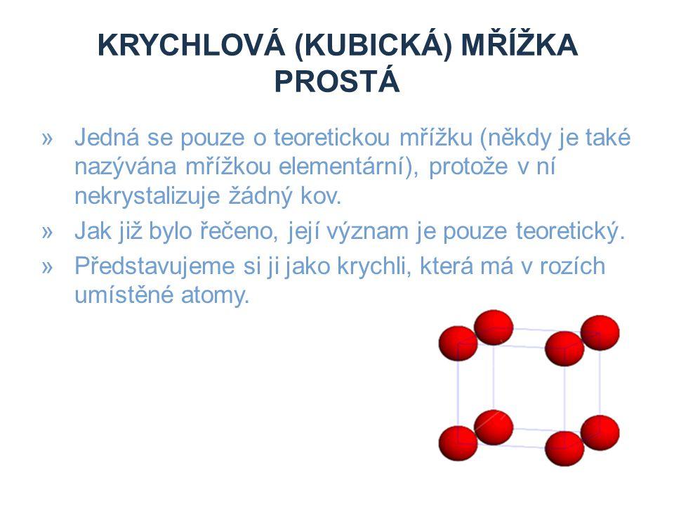 KRYCHLOVÁ (KUBICKÁ) MŘÍŽKA PLOŠNĚ STŘEDĚNÁ »Tuto mřížku si představujeme jako krychli, která má v rozích umístěné atomy kovu.