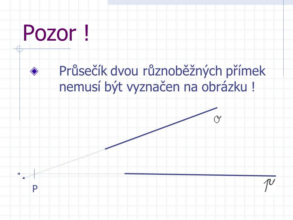 Jaký je tedy rozdíl mezi přímkami různoběžnými a rovnoběžnými? Přímky různoběžné mají Přímky rovnoběžné nemají společný bod M, společný žádný bod. Kte