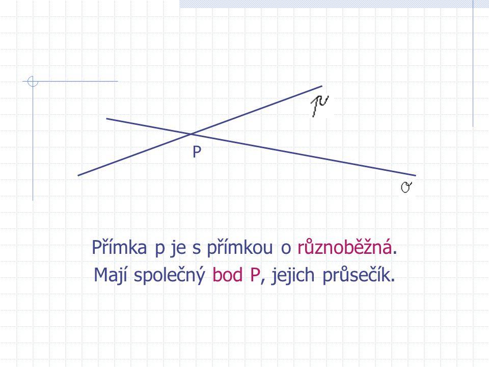Jaká je vzájemná poloha těchto přímek? Přímka o a přímka procházející body M, N jsou přímky různoběžné. Mají společný bod – jejich průsečík, který vša