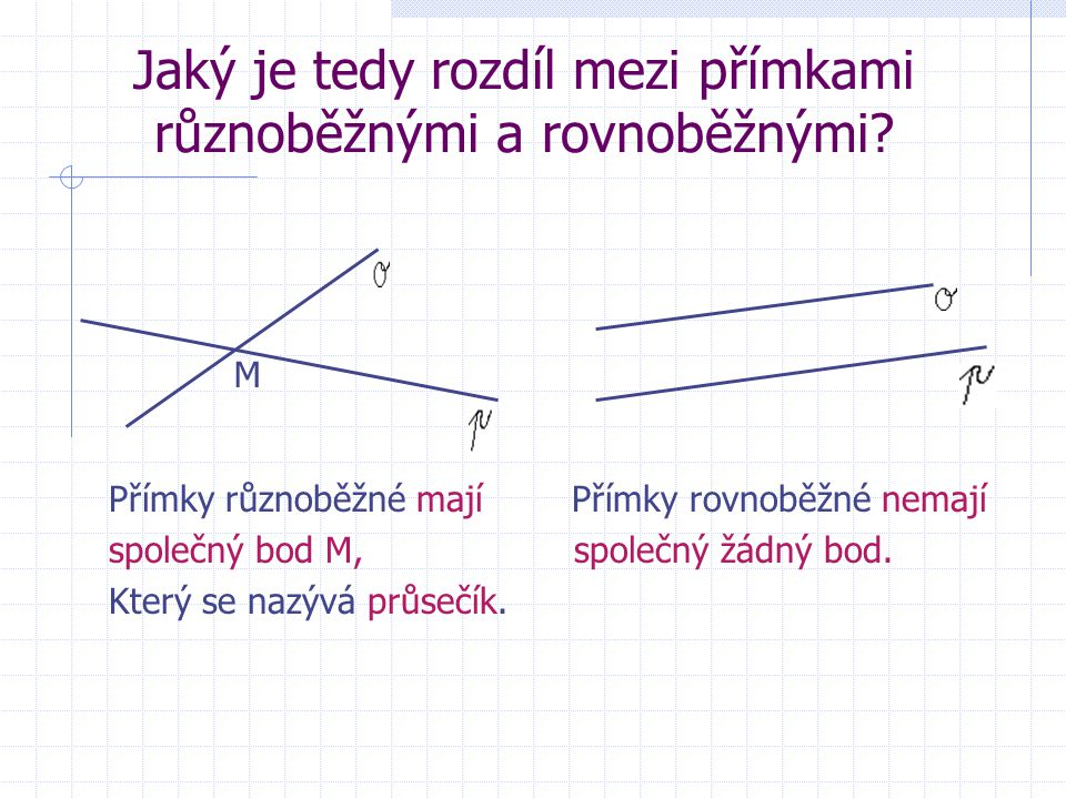 přímky o, p jsou rovnoběžky Nemají žádný společný bod. Zapisujeme o p. Čteme: Přímka o je rovnoběžná s přímkou p.