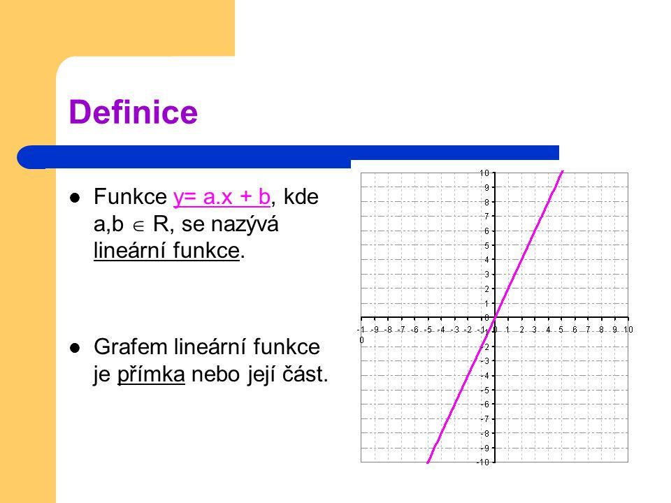 Definice Funkce y= a.x + b, kde a,b  R, se nazývá lineární funkce.