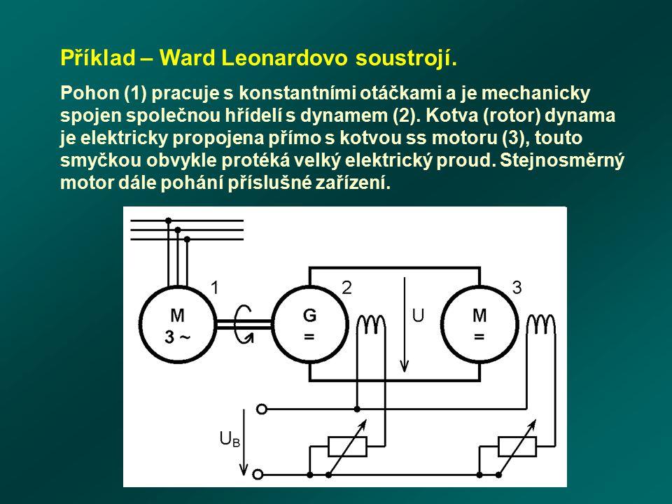Příklad – Ward Leonardovo soustrojí. Pohon (1) pracuje s konstantními otáčkami a je mechanicky spojen společnou hřídelí s dynamem (2). Kotva (rotor) d