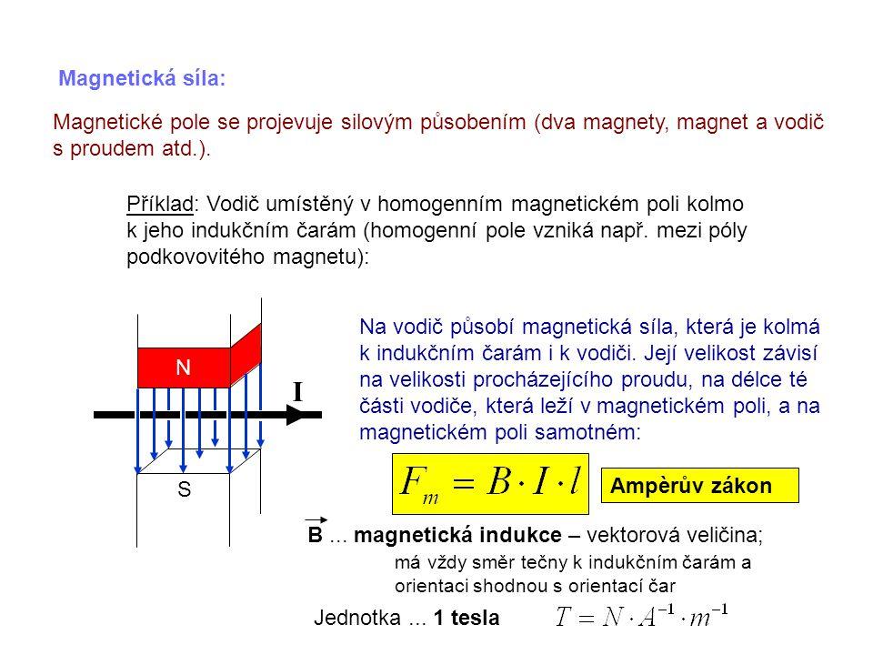 Magnetická síla: Magnetické pole se projevuje silovým působením (dva magnety, magnet a vodič s proudem atd.). Příklad: Vodič umístěný v homogenním mag