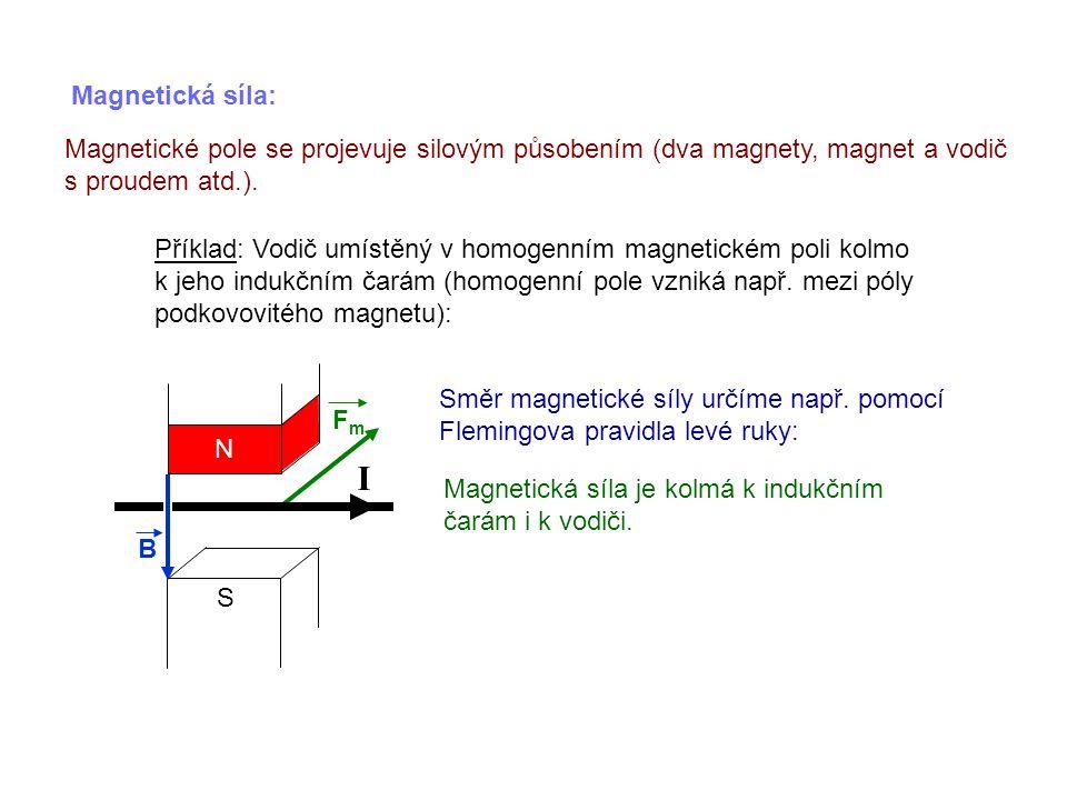 S Magnetická síla: Magnetické pole se projevuje silovým působením (dva magnety, magnet a vodič s proudem atd.). Příklad: Vodič umístěný v homogenním m