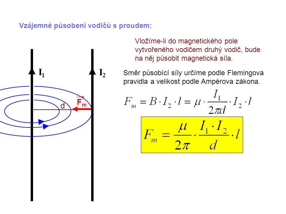 Vzájemné působení vodičů s proudem: Vložíme-li do magnetického pole vytvořeného vodičem druhý vodič, bude na něj působit magnetická síla. Směr působíc