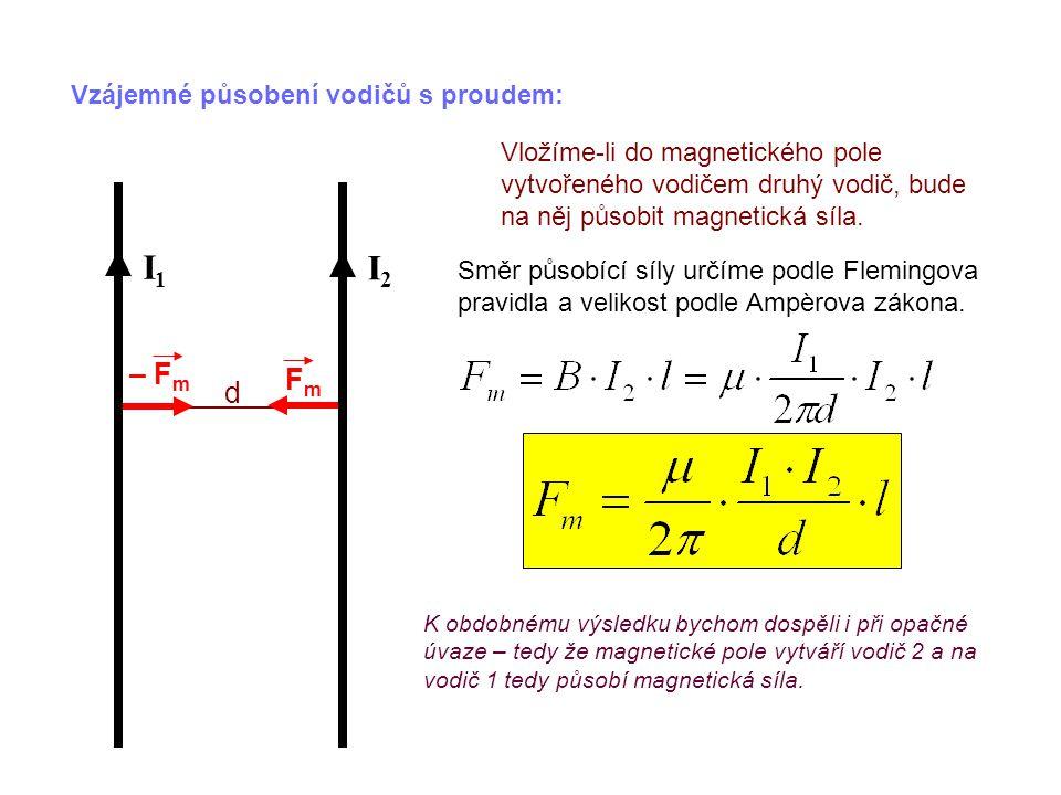 Vzájemné působení vodičů s proudem: Vložíme-li do magnetického pole vytvořeného vodičem druhý vodič, bude na něj působit magnetická síla.