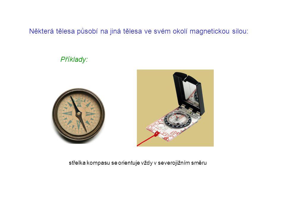 Některá tělesa působí na jiná tělesa ve svém okolí magnetickou silou: Příklady: střelka kompasu se orientuje vždy v severojižním směru