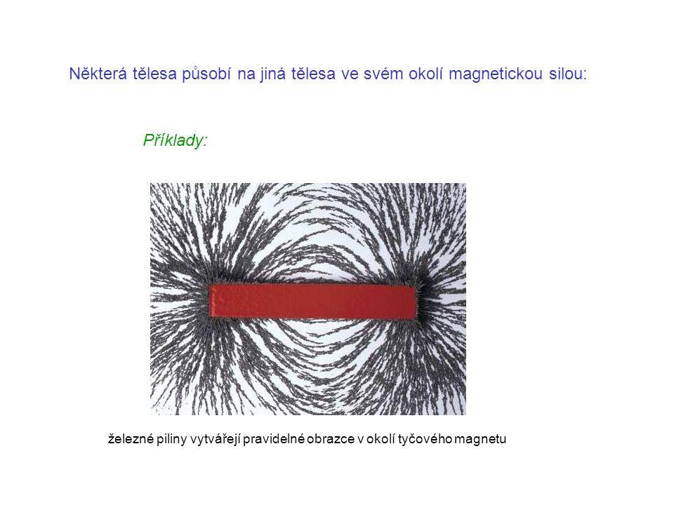 Některá tělesa působí na jiná tělesa ve svém okolí magnetickou silou: Příklady: železné piliny vytvářejí pravidelné obrazce v okolí tyčového magnetu