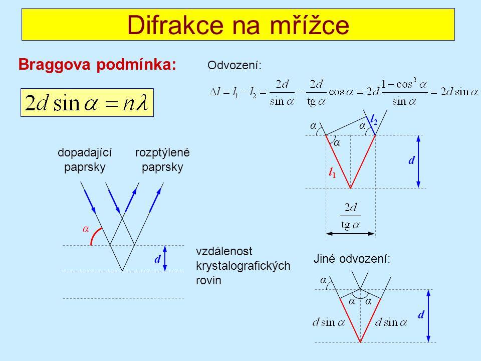 Braggova podmínka: Difrakce na mřížce rozptýlené paprsky dopadající paprsky α d vzdálenost krystalografických rovin α d αα l1l1 l2l2 Odvození: α d α α Jiné odvození: