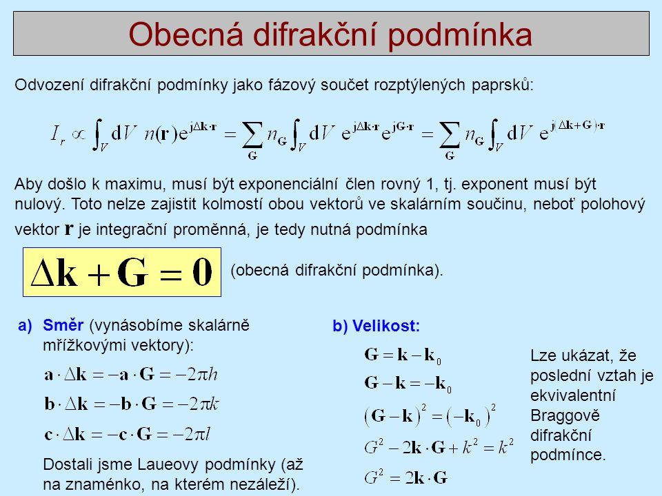 Obecná difrakční podmínka Odvození difrakční podmínky jako fázový součet rozptýlených paprsků: Aby došlo k maximu, musí být exponenciální člen rovný 1, tj.