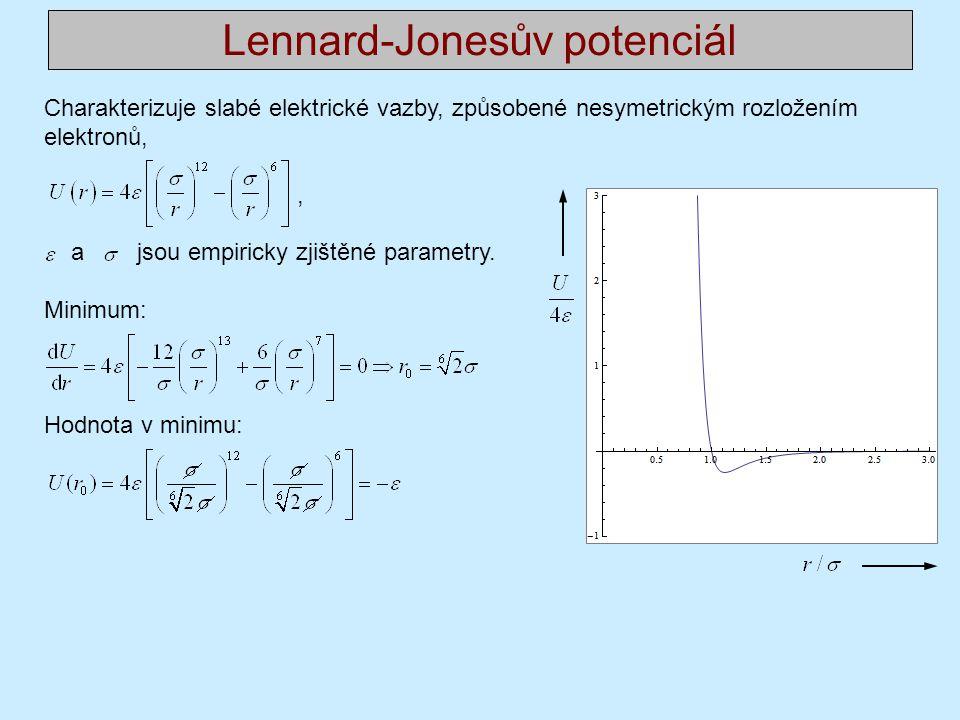 Lennard-Jonesův potenciál Charakterizuje slabé elektrické vazby, způsobené nesymetrickým rozložením elektronů,, a jsou empiricky zjištěné parametry.