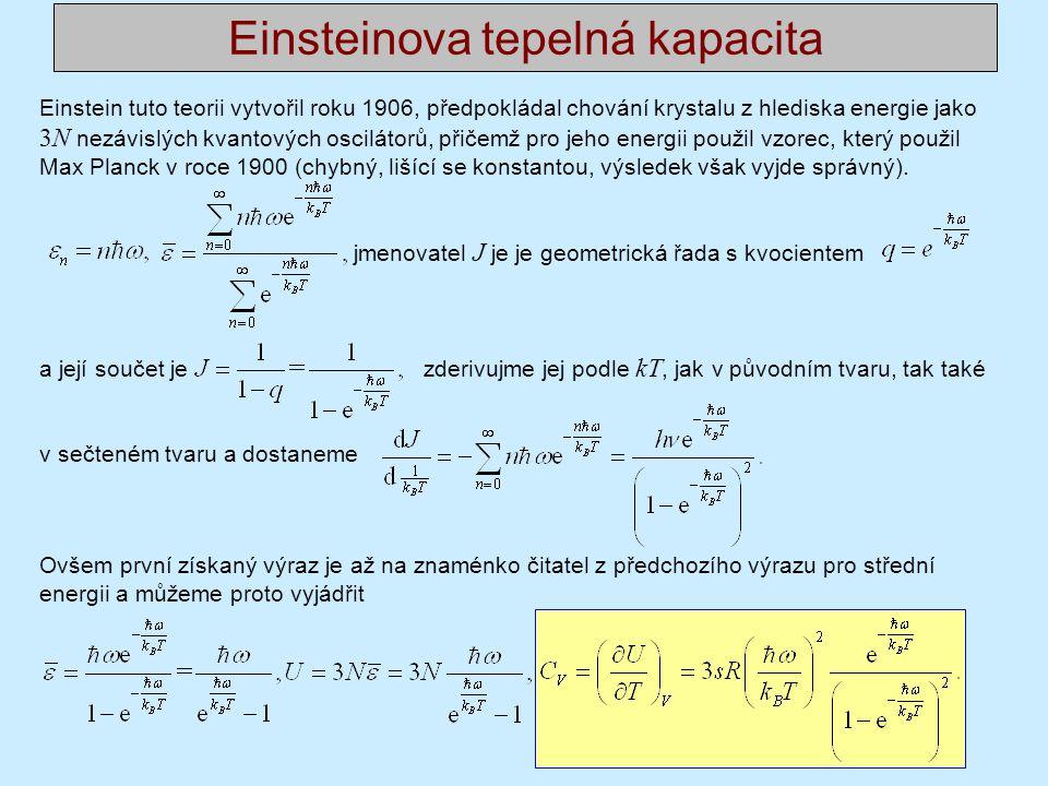 Einstein tuto teorii vytvořil roku 1906, předpokládal chování krystalu z hlediska energie jako 3N nezávislých kvantových oscilátorů, přičemž pro jeho energii použil vzorec, který použil Max Planck v roce 1900 (chybný, lišící se konstantou, výsledek však vyjde správný).