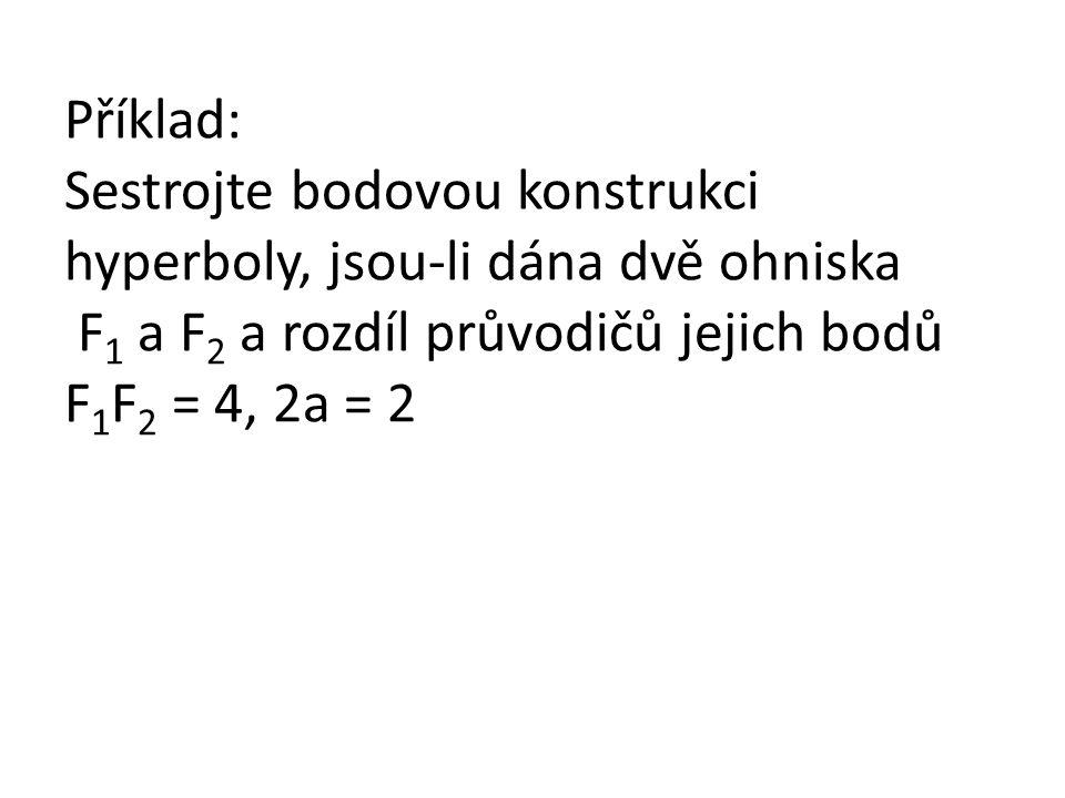 Příklad: Sestrojte bodovou konstrukci hyperboly, jsou-li dána dvě ohniska F 1 a F 2 a rozdíl průvodičů jejich bodů F 1 F 2 = 4, 2a = 2
