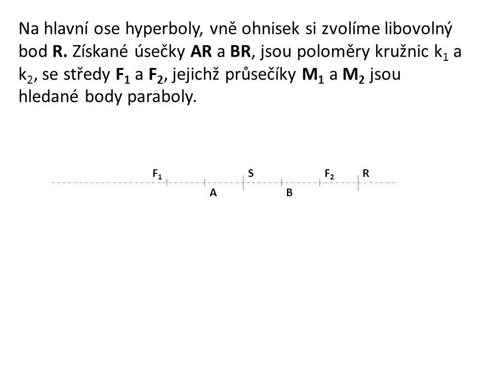 SF1F1 F2F2 AB Na hlavní ose hyperboly, vně ohnisek si zvolíme libovolný bod R.