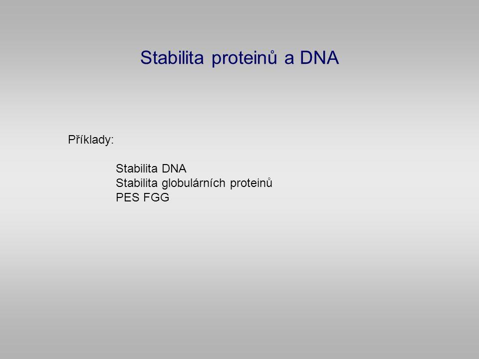 Stabilita proteinů a DNA Příklady: Stabilita DNA Stabilita globulárních proteinů PES FGG