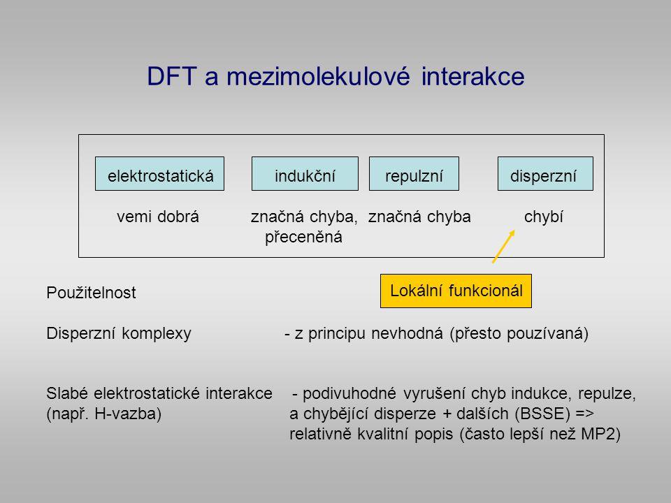 DFT a mezimolekulové interakce Použitelnost Disperzní komplexy - z principu nevhodná (přesto pouzívaná) Slabé elektrostatické interakce - podivuhodné vyrušení chyb indukce, repulze, (např.