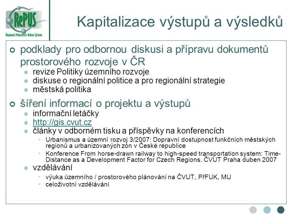 Kapitalizace výstupů a výsledků podklady pro odbornou diskusi a přípravu dokumentů prostorového rozvoje v ČR revize Politiky územního rozvoje diskuse