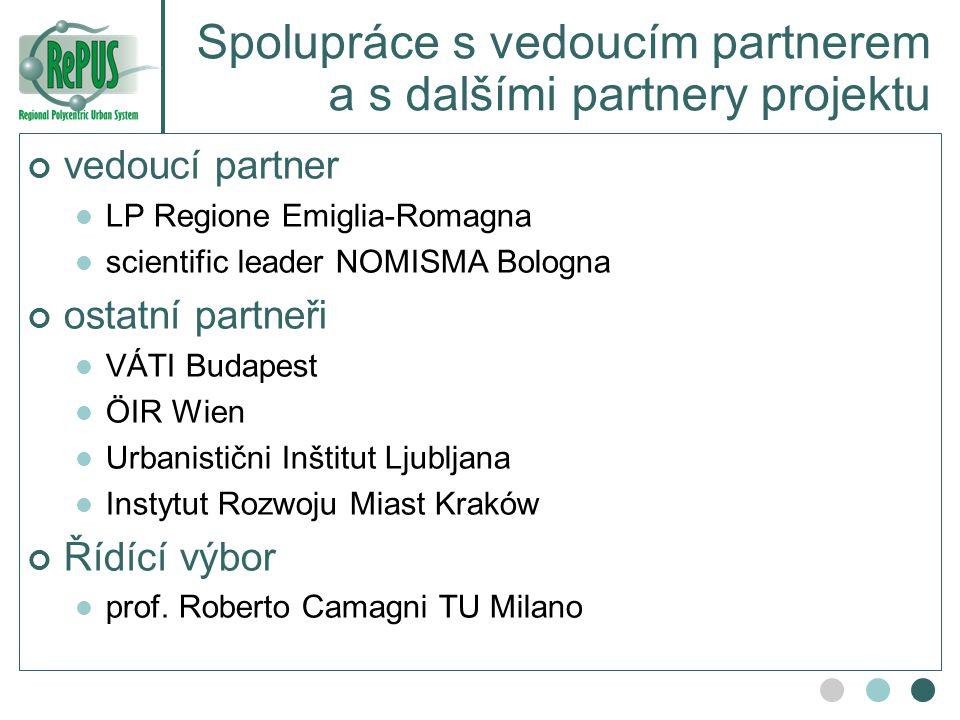 Spolupráce s vedoucím partnerem a s dalšími partnery projektu vedoucí partner LP Regione Emiglia-Romagna scientific leader NOMISMA Bologna ostatní par