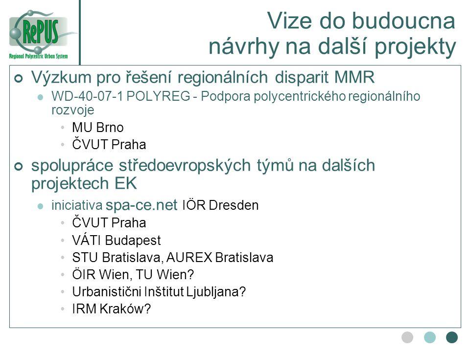 Vize do budoucna návrhy na další projekty Výzkum pro řešení regionálních disparit MMR WD-40-07-1 POLYREG - Podpora polycentrického regionálního rozvoj