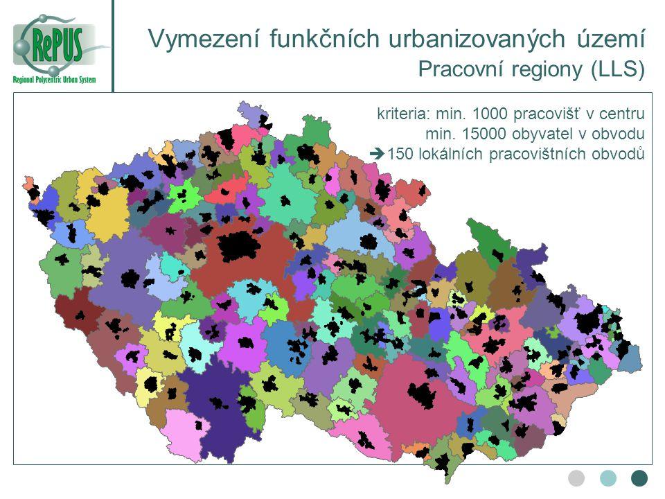 Vymezení funkčních urbanizovaných území Pracovní regiony (LLS) kriteria: min. 1000 pracovišť v centru min. 15000 obyvatel v obvodu  150 lokálních pra
