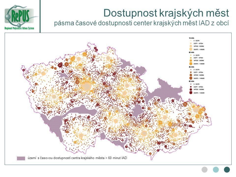 Dostupnost krajských měst pásma časové dostupnosti center krajských měst IAD z obcí území s časovou dostupností centra krajského města > 60 minut IAD