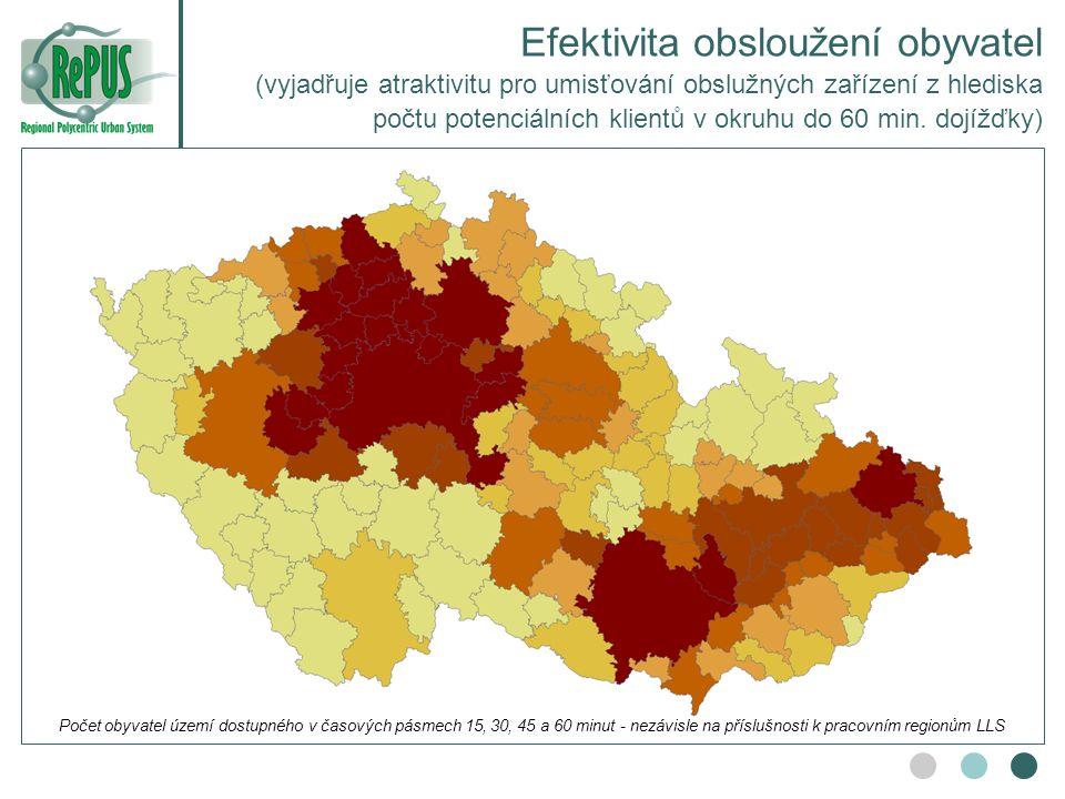 Efektivita obsloužení obyvatel (vyjadřuje atraktivitu pro umisťování obslužných zařízení z hlediska počtu potenciálních klientů v okruhu do 60 min. do