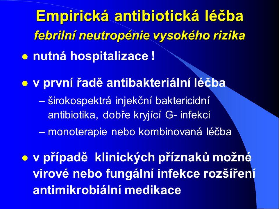 Empirická antibiotická léčba febrilní neutropénie vysokého rizika l nutná hospitalizace ! l v první řadě antibakteriální léčba –širokospektrá injekční