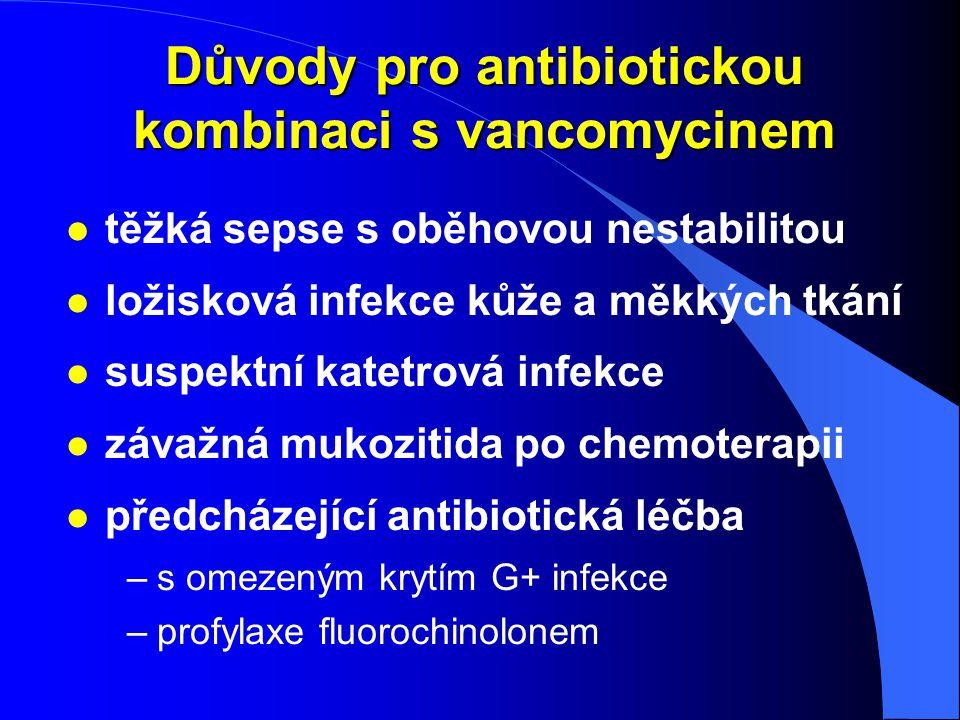 Důvody pro antibiotickou kombinaci s vancomycinem l těžká sepse s oběhovou nestabilitou l ložisková infekce kůže a měkkých tkání l suspektní katetrová