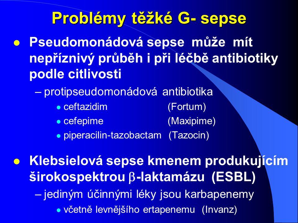 Problémy těžké G- sepse l Pseudomonádová sepse může mít nepříznivý průběh i při léčbě antibiotiky podle citlivosti –protipseudomonádová antibiotika l