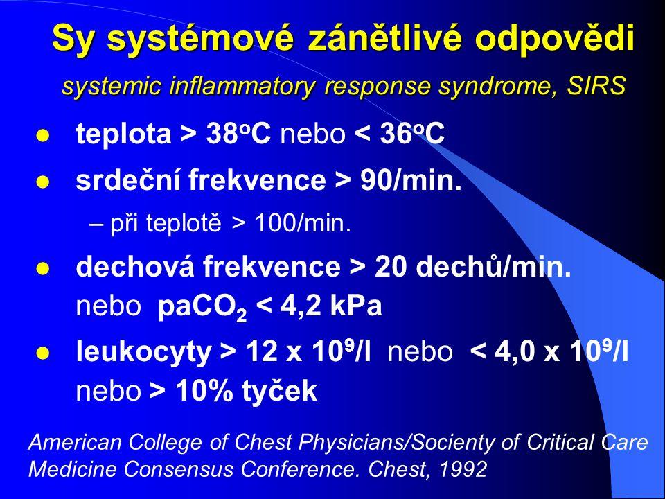 Sy systémové zánětlivé odpovědi systemic inflammatory response syndrome, SIRS l teplota > 38 o C nebo < 36 o C l srdeční frekvence > 90/min. –při tepl