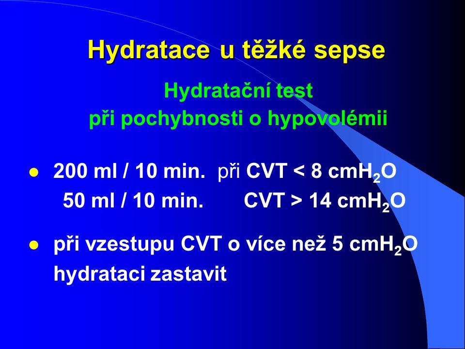 Hydratace u těžké sepse Hydratační test při pochybnosti o hypovolémii l 200 ml / 10 min. při CVT < 8 cmH 2 O 50 ml / 10 min. CVT > 14 cmH 2 O l při vz
