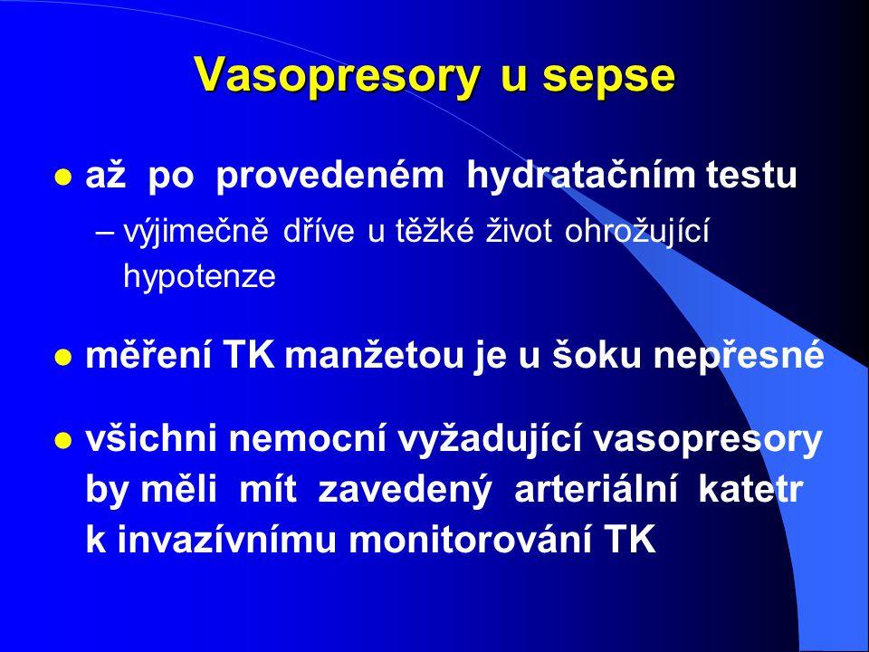 Vasopresory u sepse l až po provedeném hydratačním testu –výjimečně dříve u těžké život ohrožující hypotenze l měření TK manžetou je u šoku nepřesné l
