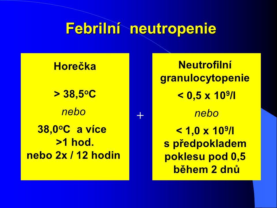Febrilní neutropenie Horečka > 38,5 o C nebo 38,0 o C a více >1 hod. nebo 2x / 12 hodin Neutrofilní granulocytopenie < 0,5 x 10 9 /l nebo < 1,0 x 10 9