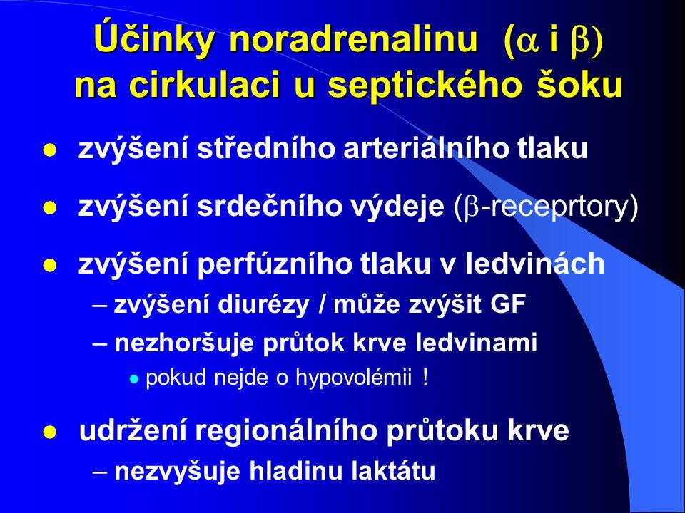 Účinky noradrenalinu (  i  na cirkulaci u septického šoku l zvýšení středního arteriálního tlaku zvýšení srdečního výdeje (  -receprtory) l zvýš