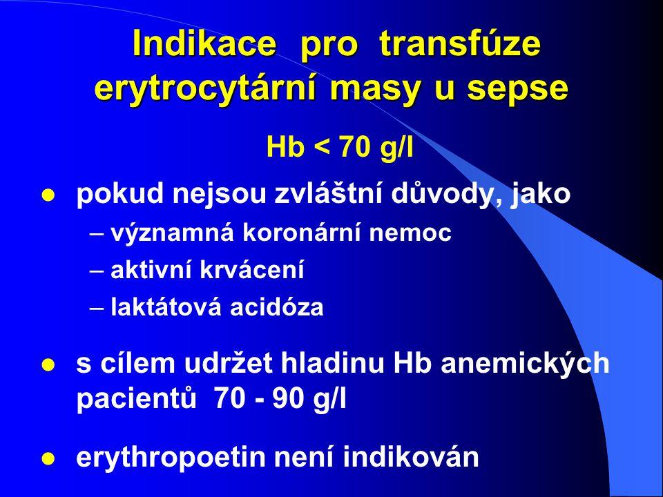 Indikace pro transfúze erytrocytární masy u sepse Indikace pro transfúze erytrocytární masy u sepse Hb < 70 g/l l pokud nejsou zvláštní důvody, jako –
