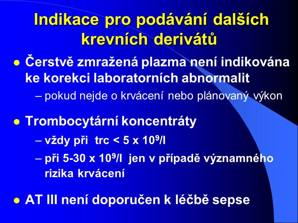 Indikace pro podávání dalších krevních derivátů Indikace pro podávání dalších krevních derivátů l Čerstvě zmražená plazma není indikována ke korekci l