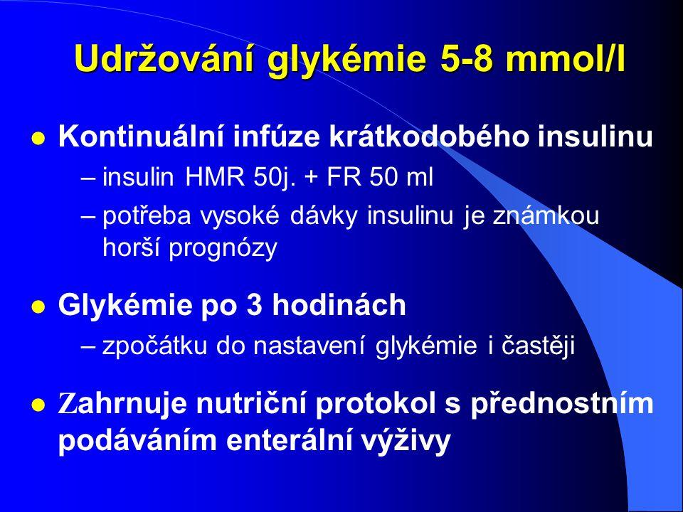 Udržování glykémie 5-8 mmol/l Udržování glykémie 5-8 mmol/l l Kontinuální infúze krátkodobého insulinu –insulin HMR 50j. + FR 50 ml –potřeba vysoké dá
