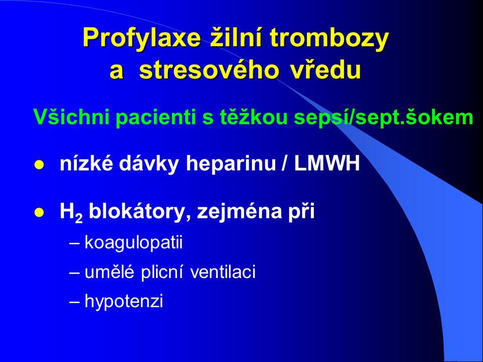 Profylaxe žilní trombozy a stresového vředu Všichni pacienti s těžkou sepsí/sept.šokem l nízké dávky heparinu / LMWH l H 2 blokátory, zejména při –koa