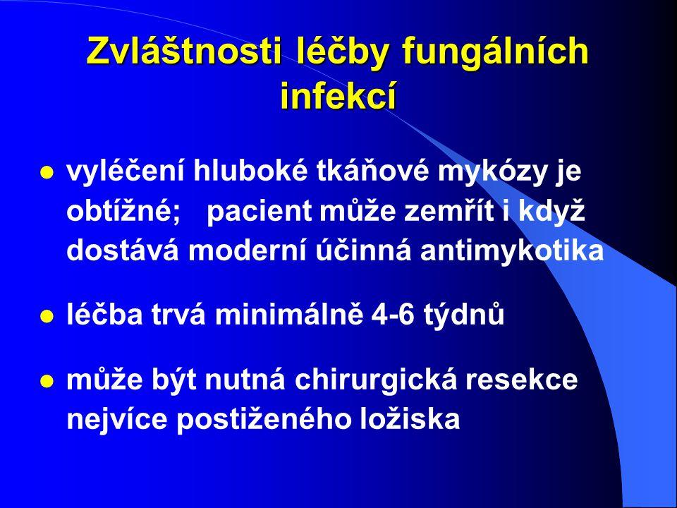 Zvláštnosti léčby fungálních infekcí l vyléčení hluboké tkáňové mykózy je obtížné; pacient může zemřít i když dostává moderní účinná antimykotika l lé